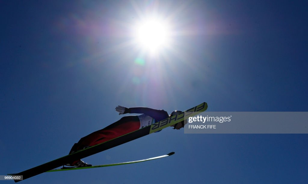Italy's Sebastien Colloreda jumps in the Ski Jumping LH Individual final at Whistler Olympic Park on February 20, 2010 during the Vancouver Winter Olympics.
