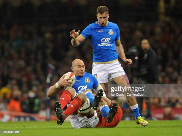 Italys Sergio Parisse is tackled by Wales Taulupe Faletau during the NatWest Six Nations Championship match between Wales and Italy at Principality...