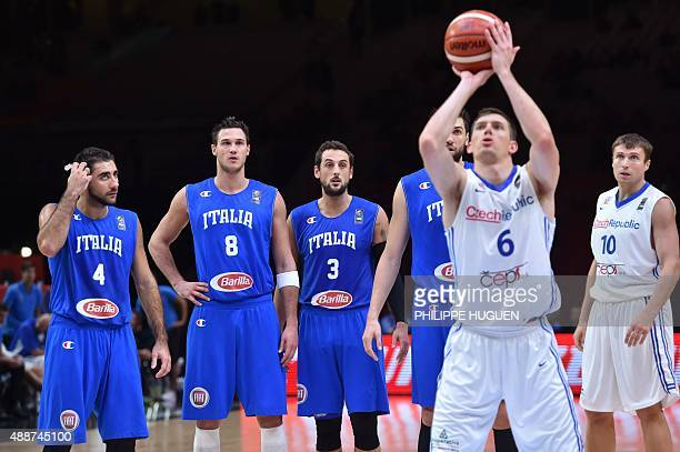 Italy's shooting guard Pietro Aradori Italy's small forward Danilo Gallinari Italy's shooting guard Marco Belinelli and Italy's center Andrea...