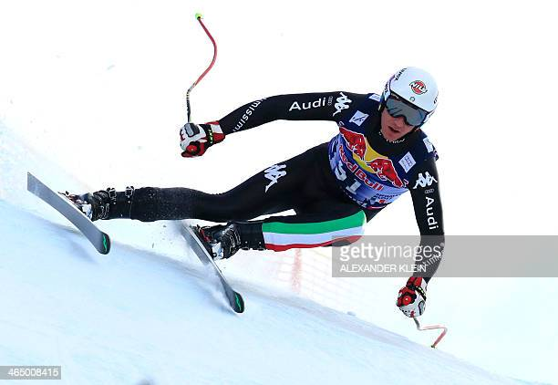 Italy's Siegmar Klotz competes during the FIS men's Alpine ski World Cup Downhill race in Kitzbuehel on January 25 2014 AFP PHOTO / ALEXANDER KLEIN