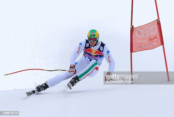 Italy's Siegmar Klotz competes during the men's downhill training session at the 73rd edition of the KitzbuehelHahnenkamm race as part of the 2013...