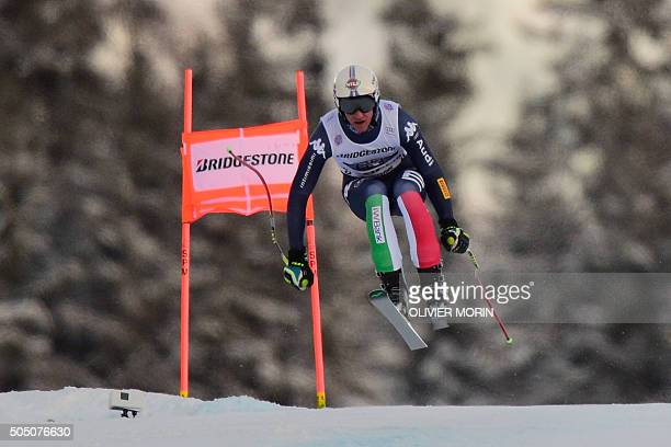 Italy's Siegmar Klotz competes the downhill race of the Alpine skiing FIS World Cup mens combined event on January 15 2016 in Wengen AFP PHOTO /...