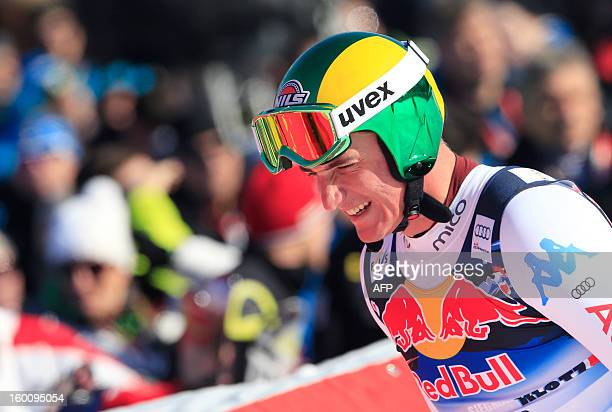 Italy's Siegmar Klotz reacts after competing at the FIS World Cup men's downhill race on January 26 2013 in Kitzbuehel Austrian Alps AFP PHOTO /...