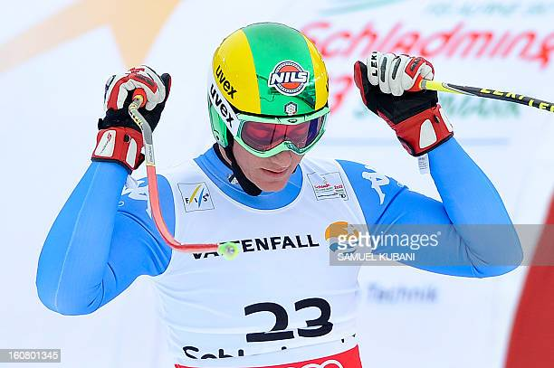 Italy's Siegmar Klotz reacts after competing during the men's SuperG event of the 2013 Ski World Championships in Schladming Austria on February 6...