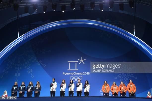 Italy's silver medallists Arianna Fontana, Lucia Peretti, Cecilia Maffei and Martina Valcepina, South Korea's gold medallists Shim Sukhee, Choi...