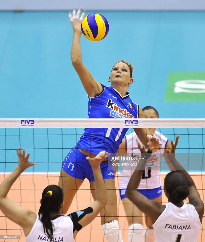 Italys Simona Gioli Top Spikes The Ba Pictures Getty Images Blue Ball Over Brazils Natalia Pereira L