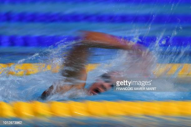 TOPSHOT Italy's Simona Quadarella competes in the Women's 1500m freestyle swimming final at the Tollcross swimming centre during the 2018 European...