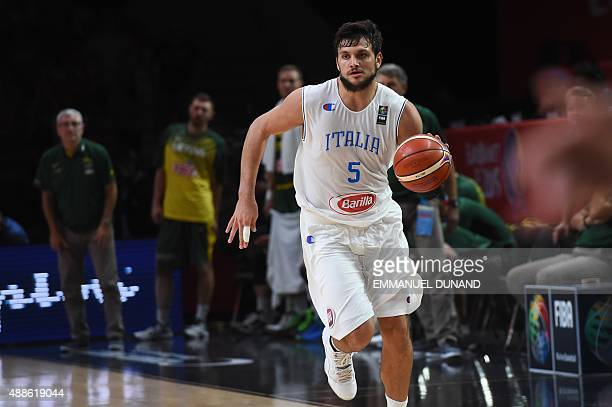 Italy's small forward Alessandro Gentile dribbles during the round of 8 basketball match between Italy and Lithuania at the EuroBasket 2015 in Lille...