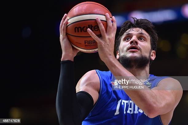 Italy's small forward Alessandro Gentile goes to the basket during the classification basketball match between the Czech Republic and Italy at the...