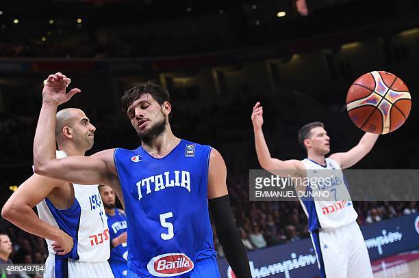 Italy's small forward Alessandro Gentile reacts during the round of 16 basketball match between Israel and Italy at the EuroBasket 2015 in Lille...
