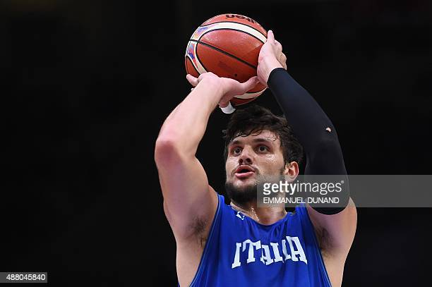 Italy's small forward Alessandro Gentile shoots a penalty during the round of 16 basketball match between Israel and Italy at the EuroBasket 2015 in...