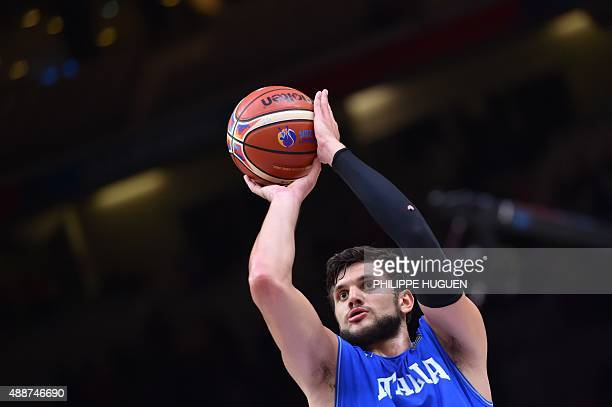 Italy's small forward Alessandro Gentile shoots a penalty during the classification basketball match between the Czech Republic and Italy at the...