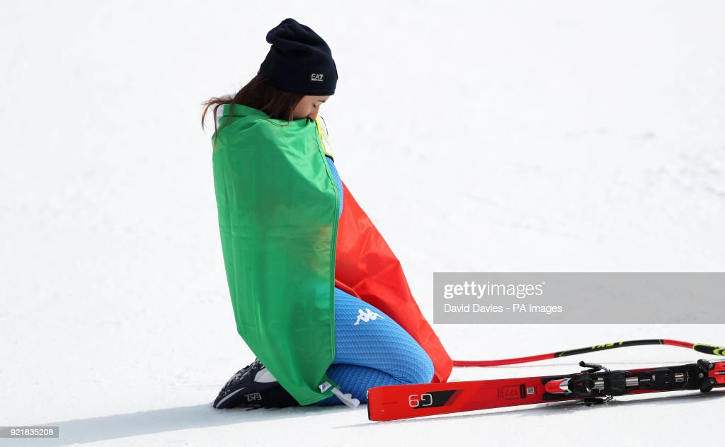 Italy's Sofia Goggia celebrates her gold medal in the Womens Downhill at the Jeongseon Alpine Centre during day twelve of the PyeongChang 2018 Winter Olympic Games in South Korea.