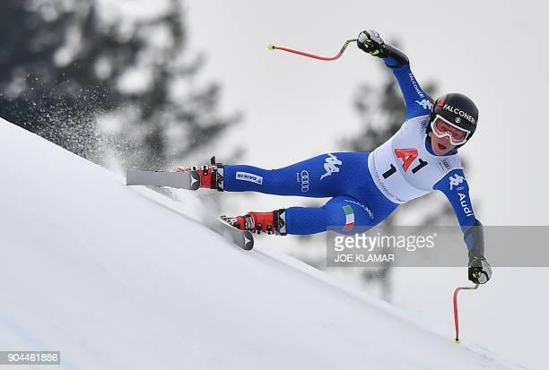 Italy's Sofia Goggia competes during the FIS Alpine World Cup Women Super G in Bad Kleinkirchheim Austria on January 13 2018 / AFP PHOTO / JOE KLAMAR