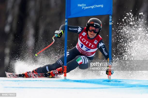 Italy's Sofia Goggia competes during the Women's Super G race at the FIS Alpine Ski World Cup in Jeongseon, some 150km east of Seoul, part of a test...