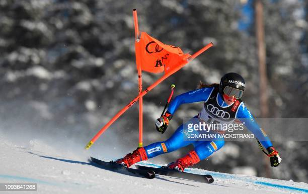 Italys Sofia Goggia competes during training for the Women's Downhill event of the 2019 FIS Alpine Ski World Championships at the National Arena in...