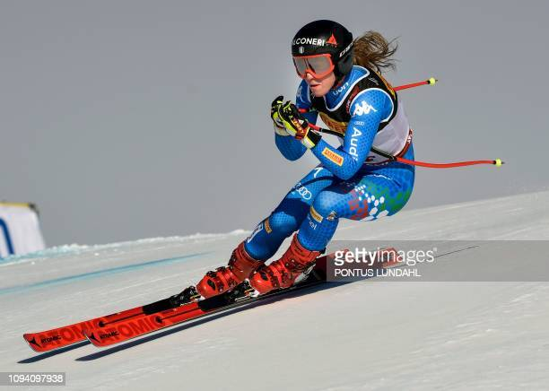 Italys Sofia Goggia competes to place second during the women's Super G event of the 2019 FIS Alpine Ski World Championships at the National Arena in...
