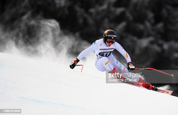 Italy's Sofia Goggia races during a training of the women's downhill event of the FIS Ski Alpine World Cup in GarmischPartenkirchen southern Germany...