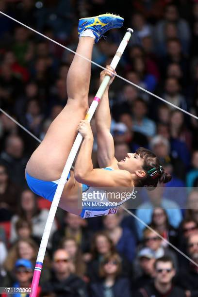 Italy's Sonia Malavisi competes in the women's pole vault during day one of the European Athletics Team Championships at Gateshead Stadium in...