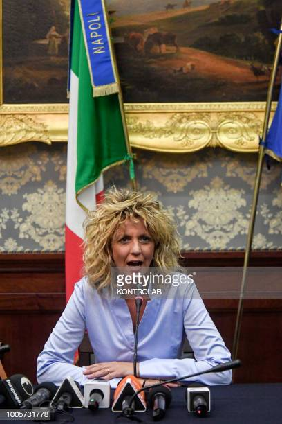 Italy's South Minister Barbara Lezzi, in press conference in palace in center Naples city, Campania region, southern Italy.