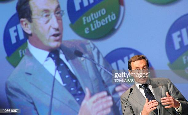 Italy's speaker of parliament Gianfranco Fini speaks during the first convention of his new political movement Futuro e Liberta' in Perugia on...
