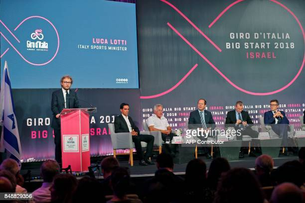 Italy's Sports Minister Luca Lotti speaks during a press conference in Jerusalem on September 18 to give details of the opening stages of next year's...