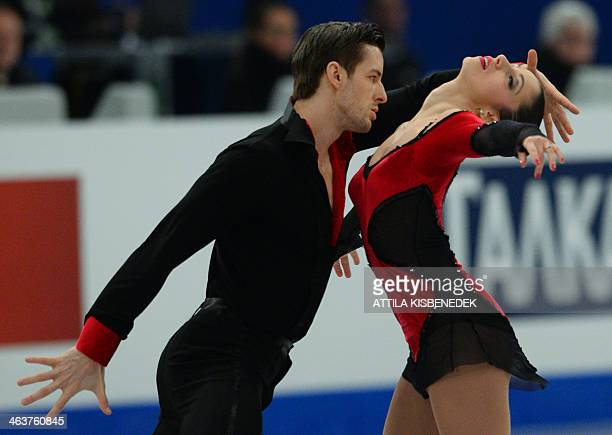 Italy's Stefania Berton and Ondrej Hotarek perform during the pairs free skating category of the ISU European Figure Skating Championships in...