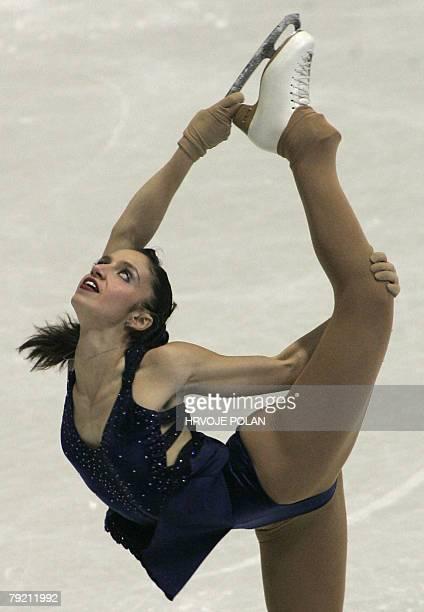 Italy's Stefania Berton performs her short program at the Dom Sportova Arena in Zagreb 25 January 2008 during the European Figure Skating...