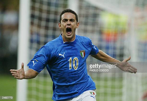 Italy's striker Filippo Inzaghi celebrates after scoring against Wales his second goal during their Euro 2004 group 9 qualifyng match at San Siro's...
