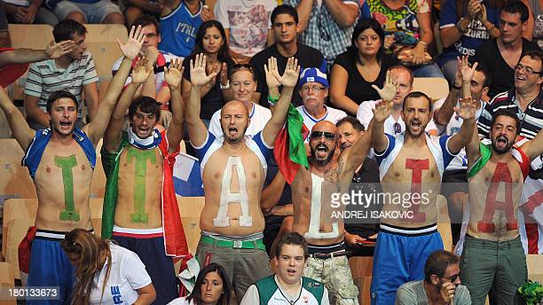 Italy's supporters react during a FIBA Eurobasket 2013 Group D qualification basketball match Italy vs Sweden in Koper on September 9 2013 AFP PHOTO...