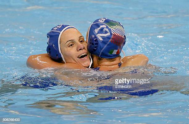 Italy's Tania Di Mario and Teresa Frassinetti celebrate after winning the women's water polo bronze medal match against Spain at the European Water...