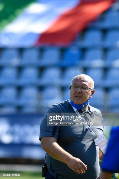 Italy's team head coach Andrea di Giandomenico looks on during the Scotland v Italy Rugby World Cup 2021 Europe Qualifying match at Stadio Sergio...