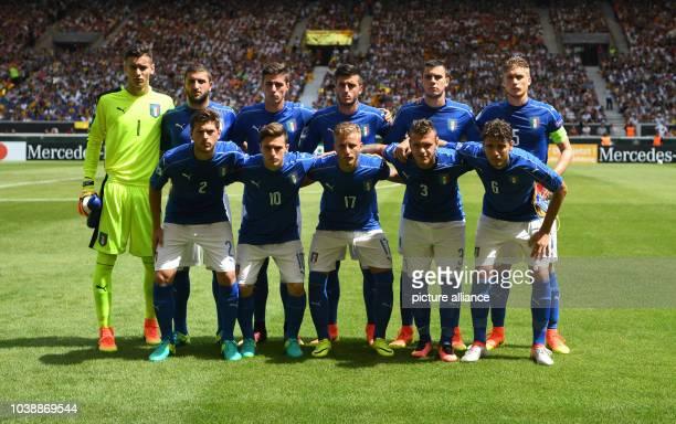 Italy's team top row lr goalie Alex Meret Mauro Coppolaro Paolo Ghiglione Alberto Picchi Simone Pontisso Filippo Romagna bottom row lr Davide...