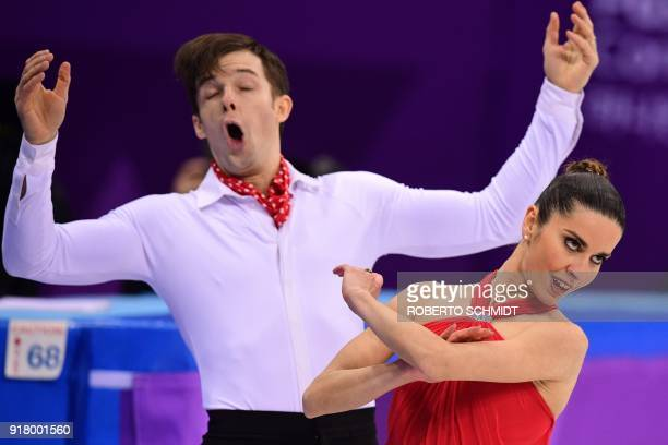 Italy's Valentina Marchei and Italy's Ondrej Hotarek compete in the pair skating short program of the figure skating event during the Pyeongchang...