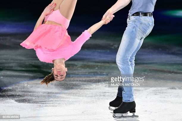 TOPSHOT Italy's Valentina Marchei and Italy's Ondrej Hotarek perform during the figure skating gala event during the Pyeongchang 2018 Winter Olympic...