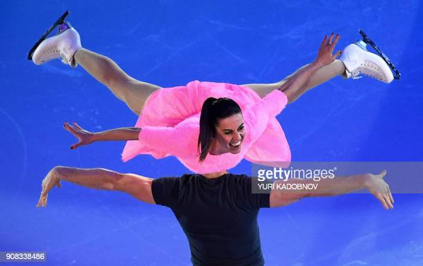 TOPSHOT Italy's Valentina Marchei and Ondrej Hotarek perform during the Gala Exhibition at the ISU European Figure Skating Championships in Moscow on...