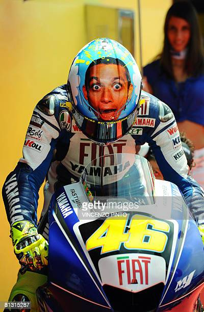 Italy's Valentino Rossi leaves the pits during the qualifying practice of the Italian GP motorcycling race at Mugello on May 31 2008 Former seventime...