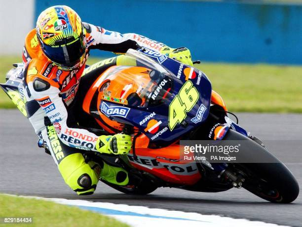 Italy's Valentino Rossi of Honda takes a corner during the MotoGP free practice for The British Motorcycle Grand Prix at Donington, Leicestershire.