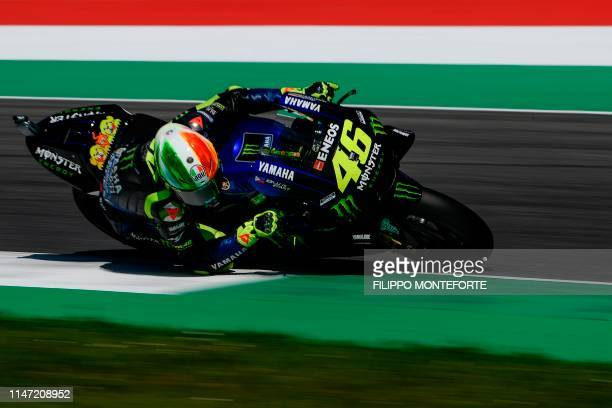 Italy's Valentino Rossi rides his Yamaha during free practice 3 ahead the Italian Moto GP Grand Prix at the Mugello race track on June 1 2019 in...