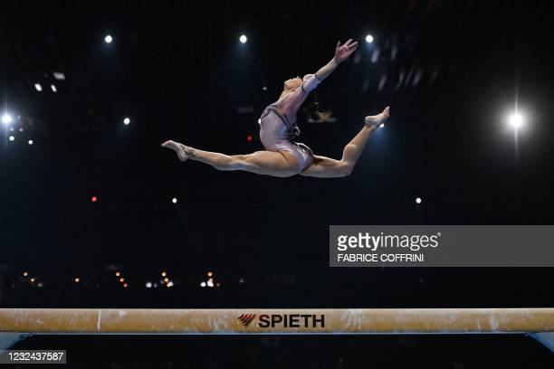 Italy's Vanessa Ferrari competes in the Women's beam qualifications during European Artistic Gymnastics Championships at the St Jakobshalle, in...