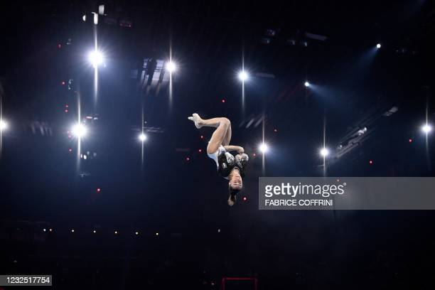 Italy's Vanessa Ferrari competes in the Women's floor apparatus final of the 2021 European Artistic Gymnastics Championships at the St Jakobshalle,...