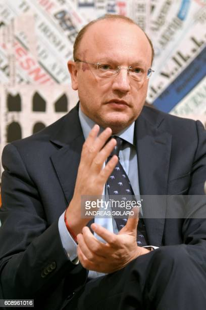 """Italy's Vincenzo Boccia, president of the Confindustria , gives a press conference at the Stampa Estera """"Foreign Press Association"""" in central Rome,..."""