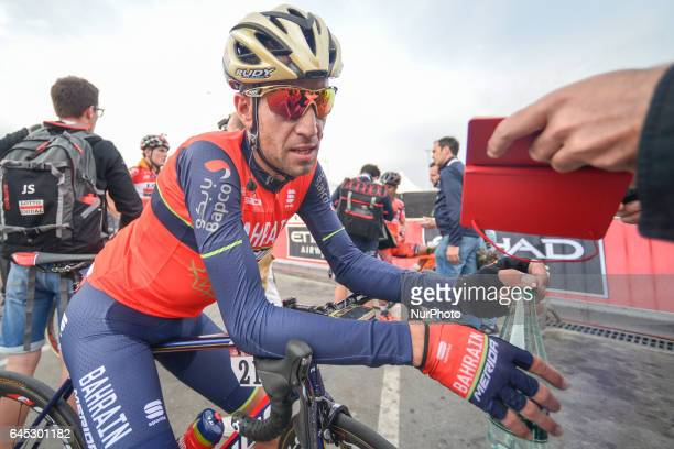 Italy's Vincenzo Nibali from BahrainMerida at the finish line of the third stage of Abu Dhabi Tour a 186km Al Maryah Island Stage from Al Ain to...