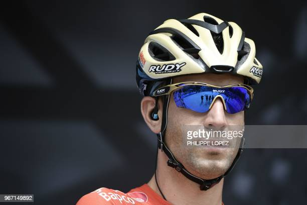 Italy's Vincenzo Nibali poses during a team's presentation, prior to the start of the first stage of the 70th edition of the Criterium du Dauphine...