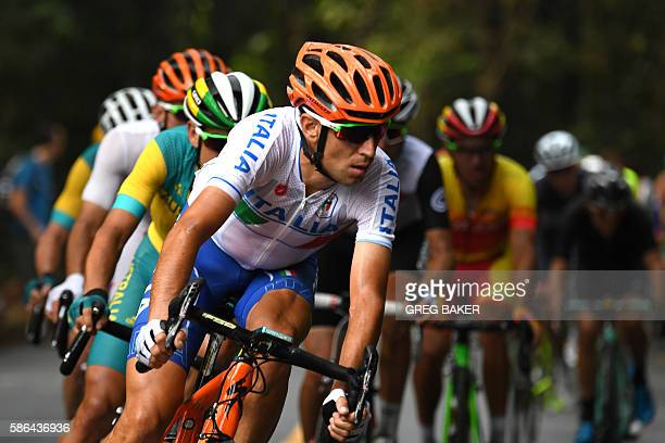 Italy's Vincenzo Nibali races during the Men's Road cycling race in the Rio 2016 Olympic Games in Rio de Janeiro on August 6, 2016. / AFP / Greg BAKER