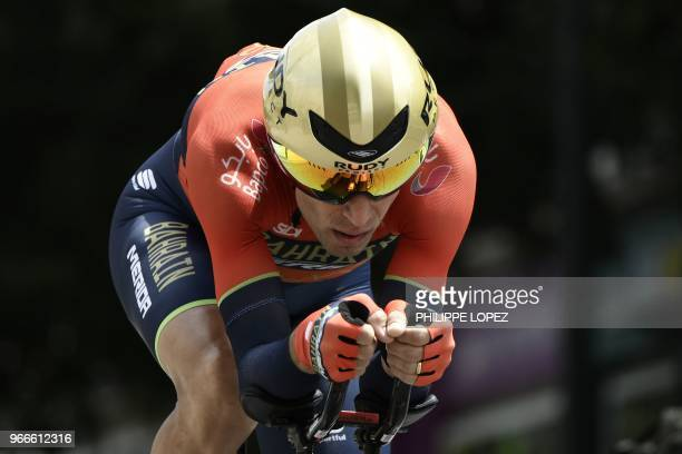 Italy's Vincenzo Nibali rides during a 66 km individual timetrial the prologue of the 70th edition of the Criterium du Dauphine cycling race on June...