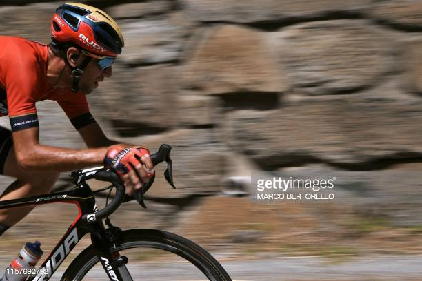 Italy's Vincenzo Nibali rides in a breakaway of four cyclists during the nineteenth stage of the 106th edition of the Tour de France cycling race...