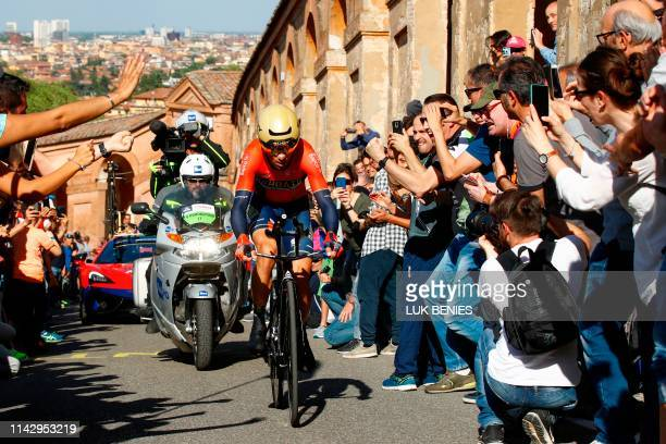 Italy's Vincenzo Nibali rides in the ascent of San Luca during the first stage of the 2019 Giro d'Italia, the cycling Tour of Italy, an 8-kilometer...
