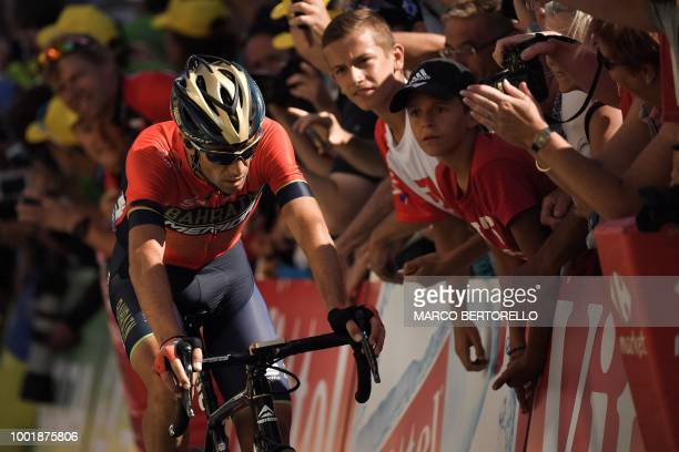 Italy's Vincenzo Nibali rides in the last meters during the twelfth stage of the 105th edition of the Tour de France cycling race, between...