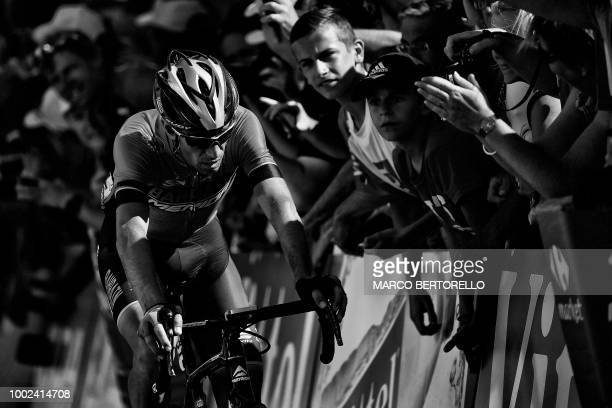 Italy's Vincenzo Nibali rides in the last meters during the twelfth stage of the 105th edition of the Tour de France cycling race between...